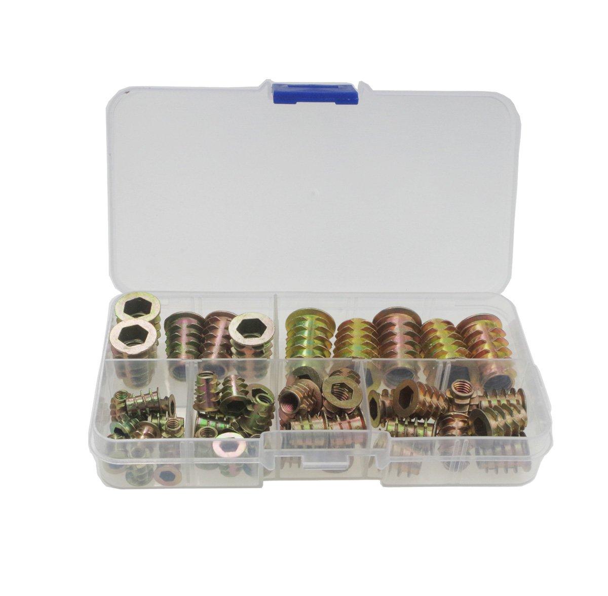 Haobase 50pcs M4 M5 M6 M8 M10 Zinc Alloy Furniture Hex Drive Head Nut Threaded For Wood Insert Metric Assortment Kit