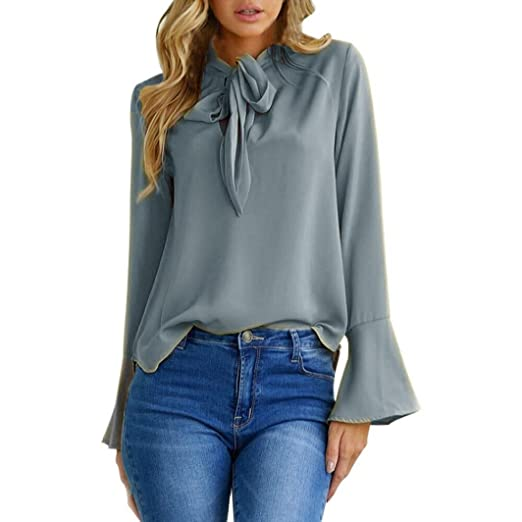 e38e7085c06 Kangma Women Flare Sleeve V Neck Casual Tops Business Shirt Blouse Gray at  Amazon Women s Clothing store