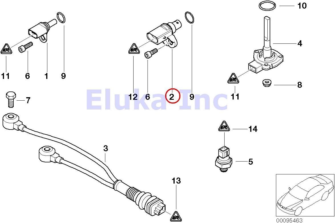 For BMW E53 E60 E64 X5 Engine Crankshaft Sensor w// Adapter GENUINE
