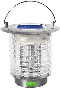 White Kaiman Solar Powered Mosquito Killer Lamp for Outdoors - Stainless Steel Portable 1.2W LED Waterproof Bug Zapper Lantern