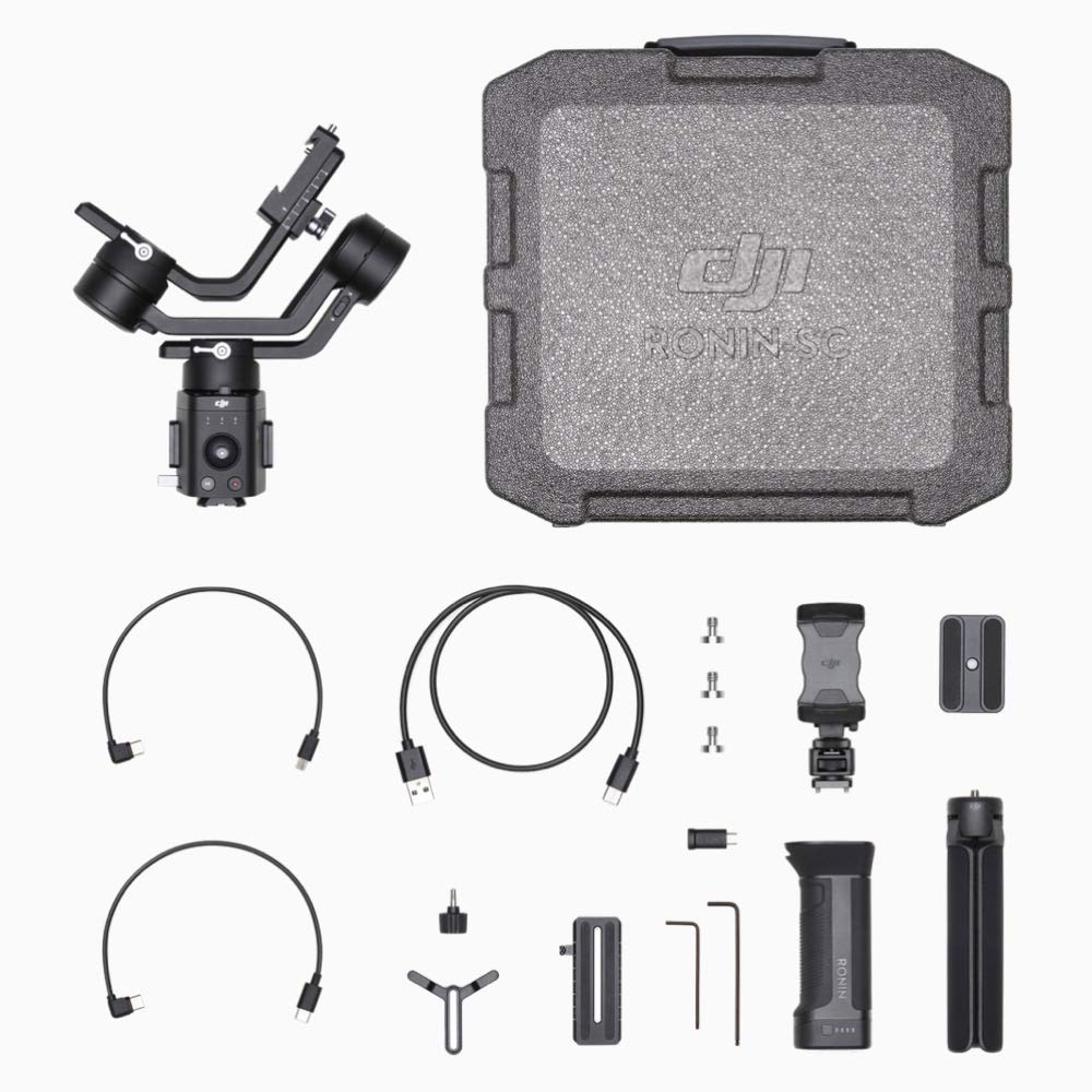 Phone Holder Carrying Case and Cleaning Kit Comes 64GB Micro SD Tripod 1 Year Limited Warranty 2019 DJI Ronin-SC 3-Axis Gimbal Stabilizer for Mirrorless Cameras Up to 4.4lb Payload
