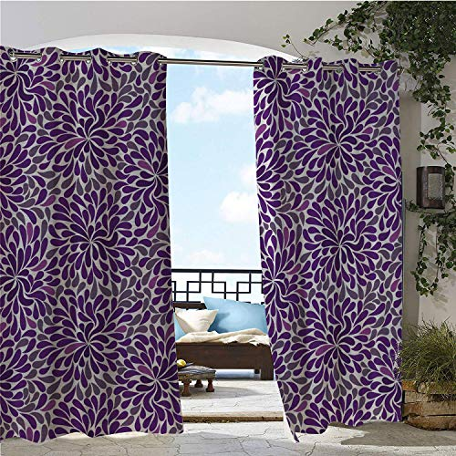 (Linhomedecor Balcony Waterproof Curtains Purple Teardrop Shapes Floral Themed Arrangement Abstract Botanical Garden Purple Purple Grey pergola Grommet Party Curtains 120 by 96 inch)