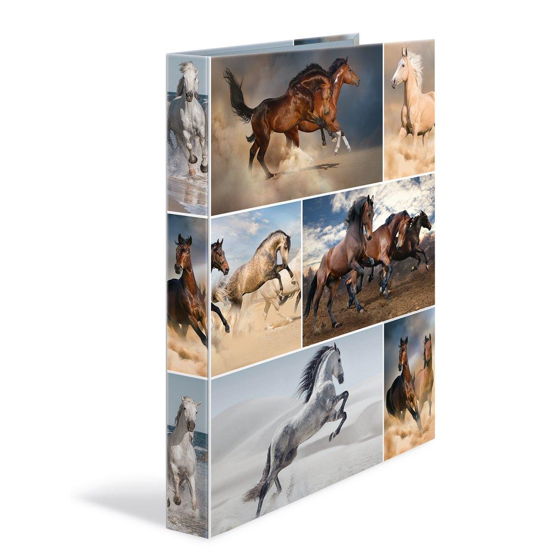 HERMA 19358ad anelli DIN A4Cartoncino, serie Animali, motivo: cane, 4Anelli, Dorso 35mm, 1cartella Stretta 4 anelli cavallo 19360
