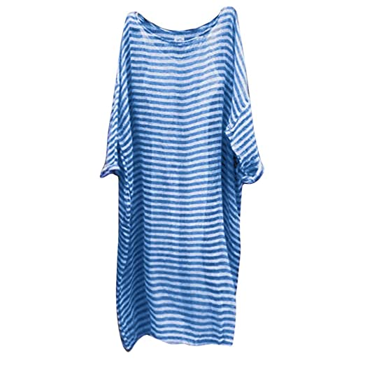 a4289e7f341a Women Plus Size Casual Linen Loose Maxi Dress Stripe Long Sleeve Dress  Summer O-Neck Party Dresses at Amazon Women's Clothing store: