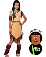 Girls Native American Beauty Costume Halloween Trick or Treat Safety Kit