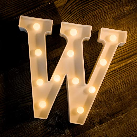 Foaky LED Letter Lights Sign Light Up Letters Sign for Night Light Wedding/Birthday Party Battery Powered Christmas Lamp Home Bar Decoration(W)
