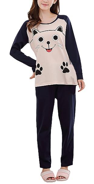 Pijamas Mujer Tallas Grandes Elegante Manga Larga Cuello Redondo Animal Print Tops+Largo Niñas Ropa