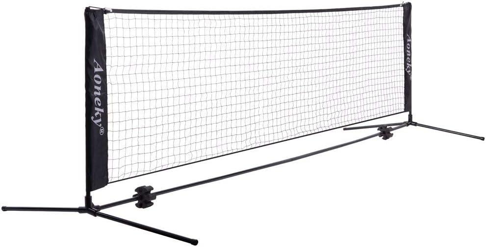Aoneky Red de Tenis Bádminton de Pie - 300/550cm×84cm, Red Profesional Portátil Desplegable Ajustable, Entrenamiento Juego de Bádminton Vóleibol Tenis para Niños, Accesorios de Deportes al Aire Libre