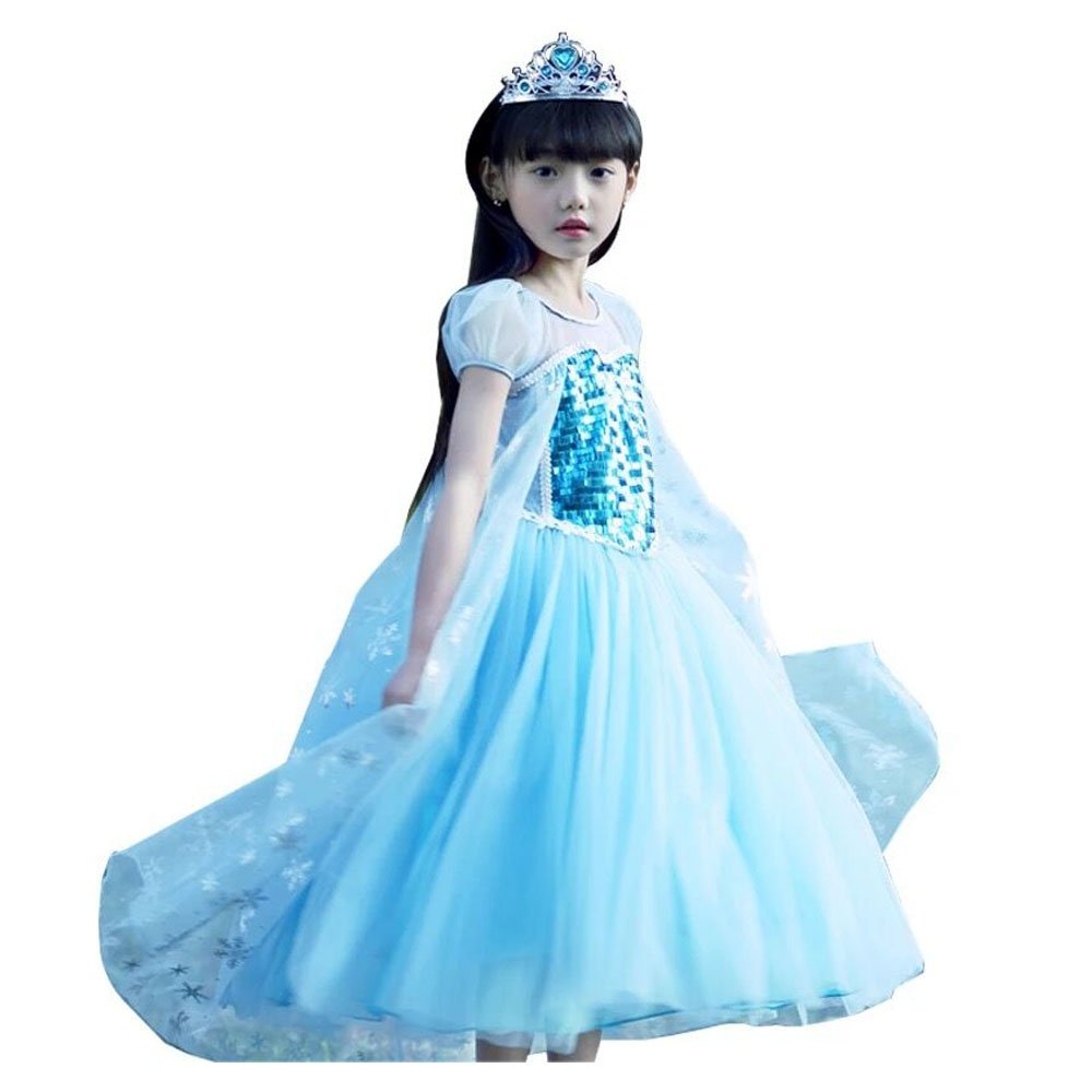 Girl's Snow Princess Elsa Costume Sequins Blue Short Puff Sleeve Dress Cosplay Halloween Birthday Party Dress Fancy Dress (2 years) Yeesn