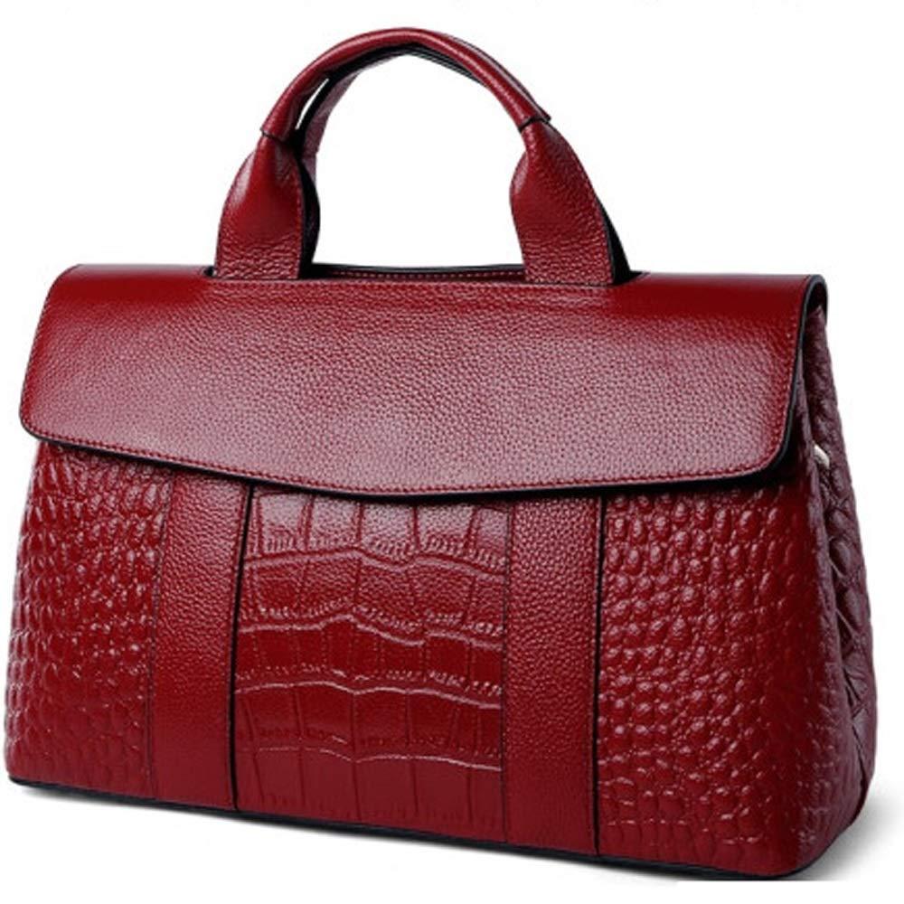 Crocodile Pattern Spring and Summer First Layer Cowhide Ladies Large Capacity Trend Leather Handbag Shoulder Bag Baggage//Handbag//Messenger Bag//Handbag QUAN YOU Leather Bag