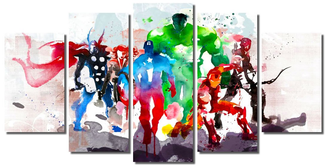 Picture Sensations Framed Canvas Art Print, Abstract Watercolor Marvel Avengers Super Hero Wall Canvas Art - 60''x32''