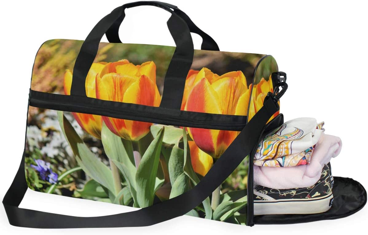 MUOOUM Yellow Tulip Beautiful Floral Large Duffle Bags Sports Gym Bag with Shoes Compartment for Men and Women