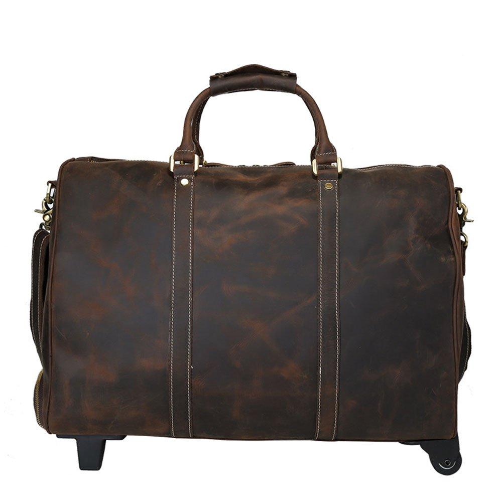 スーツケース 軽量 静音 キャリーケース 大型 大容量カジュアルショルダーバゲージバッグ長距離トラベルバッグ 4輪 ック付 ファスナータイプ アルミ合金製 耐衝撃 防水 (色 : 褐色) B07RRHT5KF 褐色