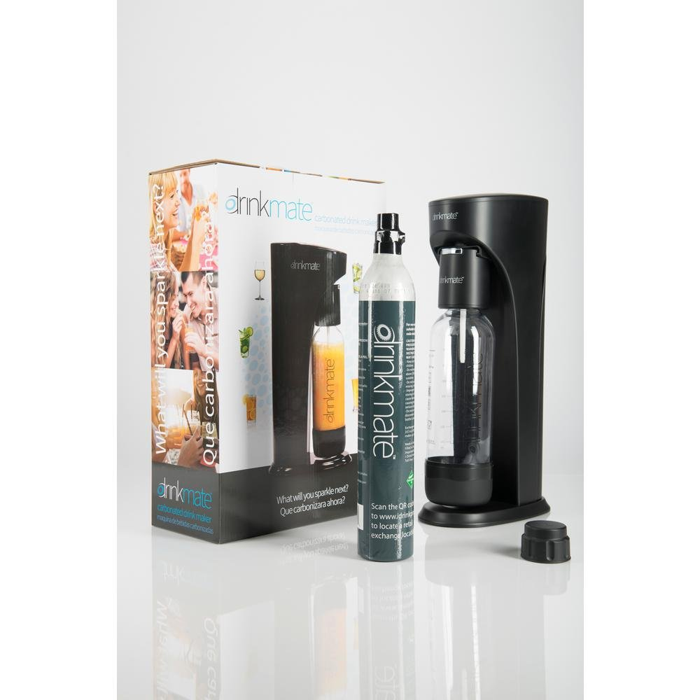 DrinkMate Home Carbonation Machine with 1 Can 14.5oz of CO2 Carbonator (makes up to 60L Sparkling BEverages), 1L Reusable Carbonating Bottle, and Fizz Infuser. Portable and Easy to Use (Black)