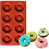 Set of 2 - CHICHIC 8 Cavity Silicone Donut Pan, Muffin Cups, Cake Baking Ring, Biscuit Mold