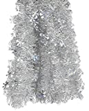 Elegant Hanging Holiday Tinsel Garland 3-inches Thick x 12-feet - Silver and Snowflakes