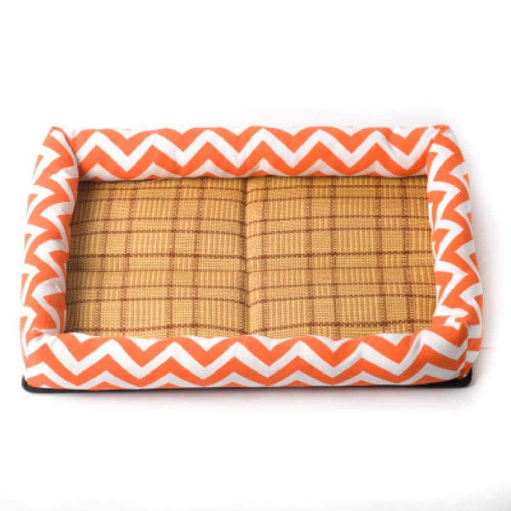 orange L orange L NINGVONG Small dog supplies new cool pad mat pet nest four seasons canvas printing medium small dog bed, orange, L