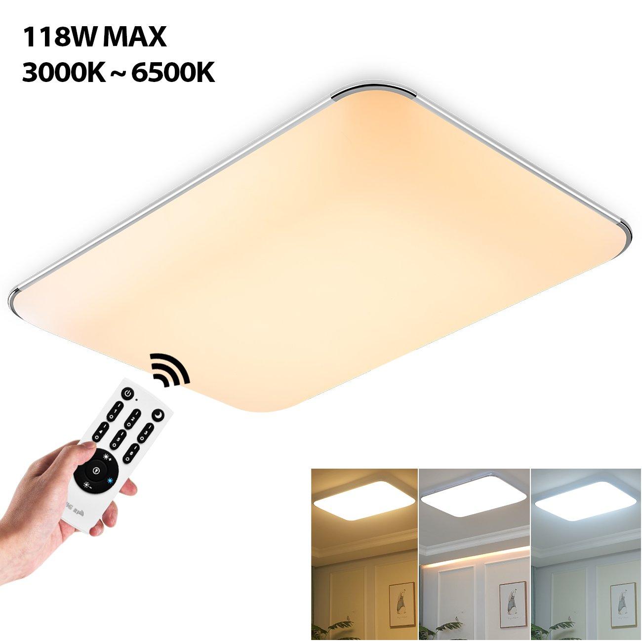 LED Deckenleuchte dimmbar mit Fernbedienung 118W 93x65 cm für Kueche Wohnzimmer Schlafzimmer Esszimmer, modern rechteckig, 9440 lm - LVWIT