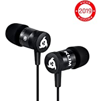 KLIM™ Fusion Earphones - Long-Lasting Earphone Headphones with Microphone + 5 Years Warranty - Perfect for Sports, Travel, Music - Innovative in-Ear Memory Foam - 3.5mm Jack - 2019 Version - Black
