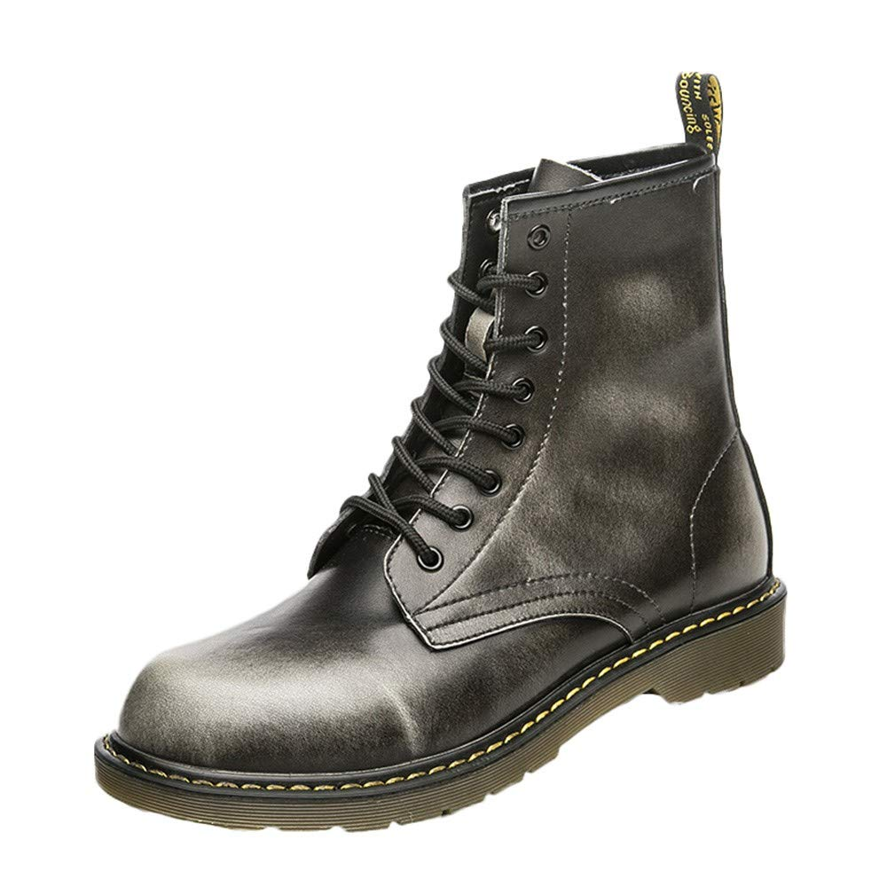 HULKAY Mens Military Boots Upgrade Vintage England Martin Motorcycle Tooling Military Boot