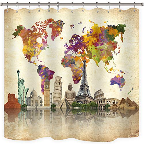 Riyidecor Vintage World Map Shower Curtain Weighted Hem Wanderlust Landmark Spot Cultural Statue of Liberty Big Ben Decor Fabric Set Polyester Waterproof 72x72 Inch Free 12-Pack Plastic Hooks