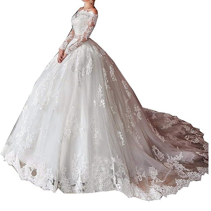Amazon.com: GFDress - Vestido de novia de manga larga para ...