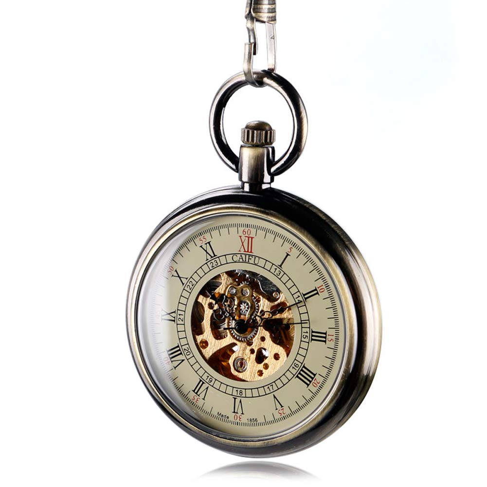 Classic Pocket Watch, Automatic Mechanical Pocket Watch for Men, Bronze Open Face Roman Numerals Pocket Watch Gift by mygardens (Image #5)