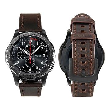 iBazal Gear S3 Frontier Classic Correa Cuero Piel 22mm Pulseras Bandas Compatible con Samsung Galaxy Watch 46mm,Huawei GT/2 Classic/Honor ...