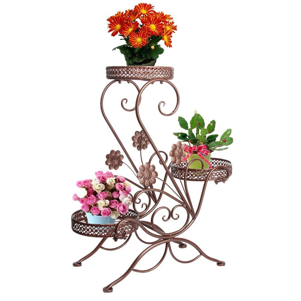 3-Tiered Scroll Classic Plant Stand Indoor Metal Plant Pot Stand Outdoor Decorative Garden Patio Standing Flower Rack Shelf Hold 3 Pots with Modern