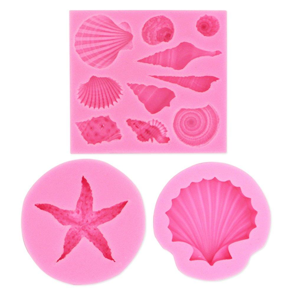Seashell Silicone Fondant Mold Big Sea Shells Chocolate Candy Starfish Mold For Beach Theme Wedding Birthday Party Cake(3PCS)