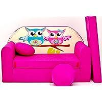 Pro Cosmo Canapé lit H30 avec Pouf/Repose-Pieds/Oreiller - pourEnfants - en Tissu - Rose - 168x 98x 60cm