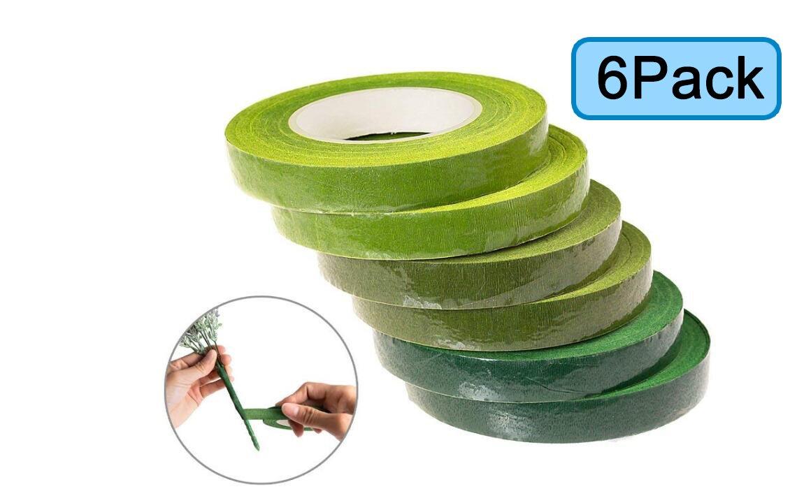 U_Star 6 Rolls Green Floral Tape Stem Wrap Tape for Bouquet Stem Wrap 1/2 x 30 Yards Florist Stem Wrap