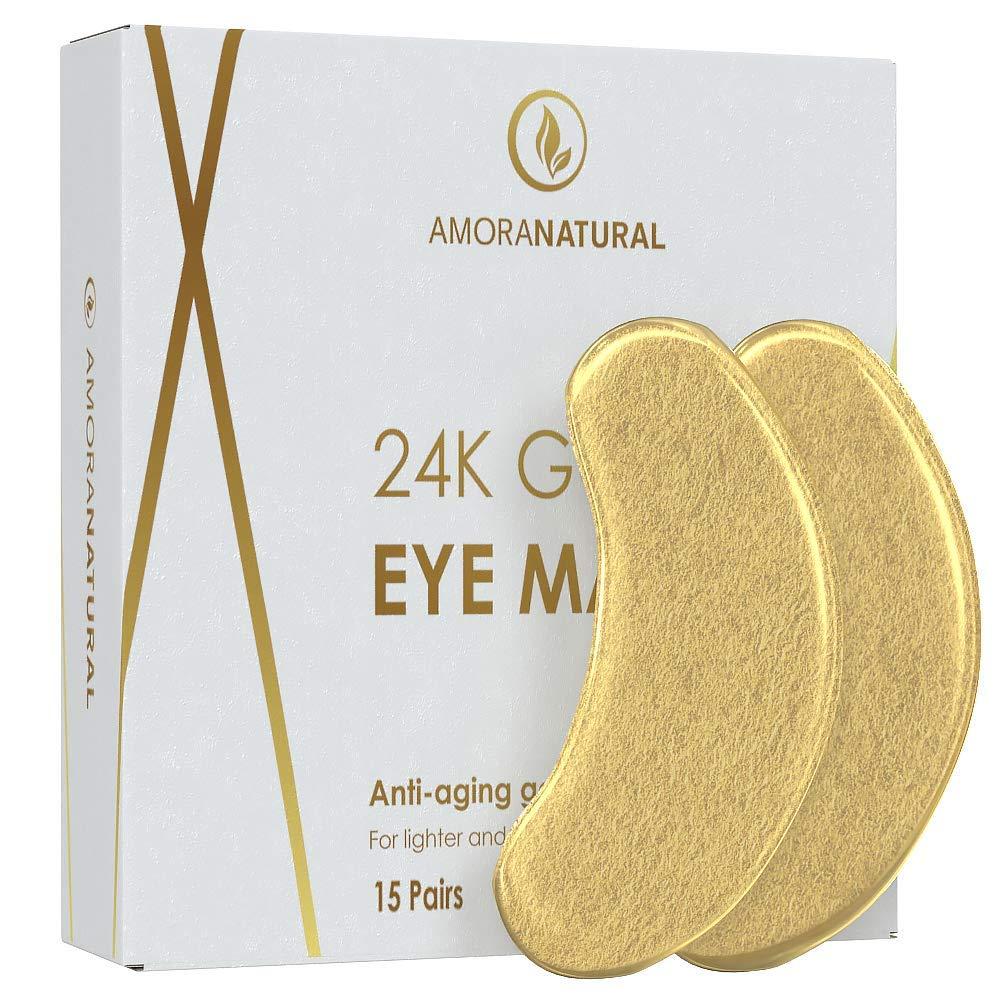 24K Gold Eye Masks - 30 Pairs - Under Eye Bags & Dark Circles Treatment - Feel Fresh & Revitalized.