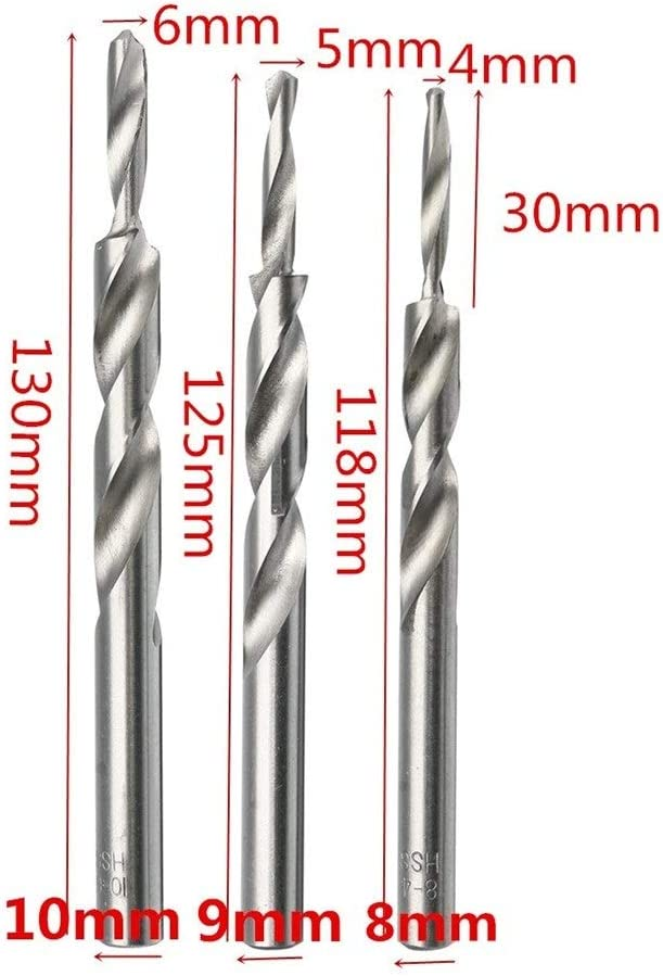 4-8//5-9//6-10mm Twist Step Drill Bit For Woodworking Manual Pocket Hole Drill Bits Tool Accessories Color : 4 8mm