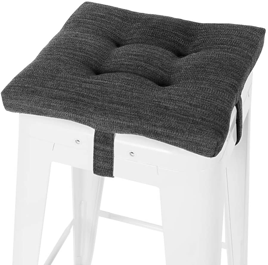 Baibu 12 Inches Square Seat Cushion Super Soft Bar Stool Square Seat Cushion With Ties One Pad Only Gray Black 12 30cm Kitchen Dining