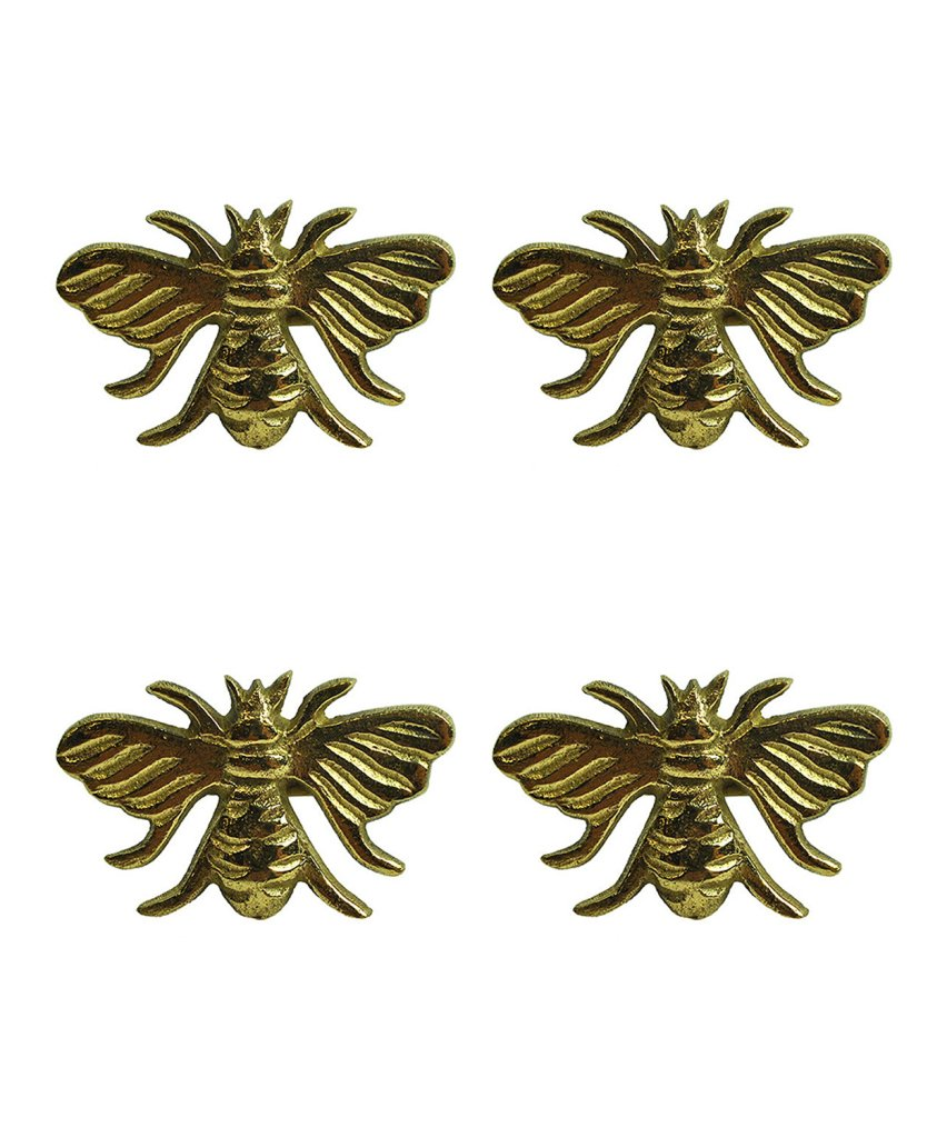 Design Imports Honey Bee Table Linens Gold Bee Brass Napkin Rings, Set of 4