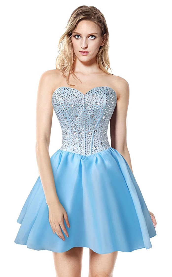 da961d240f065 Amazon.com: Charmian Women's Gorgeous Crystal Short Sweet 16 Homecoming Cocktail  Prom Gowns: Clothing
