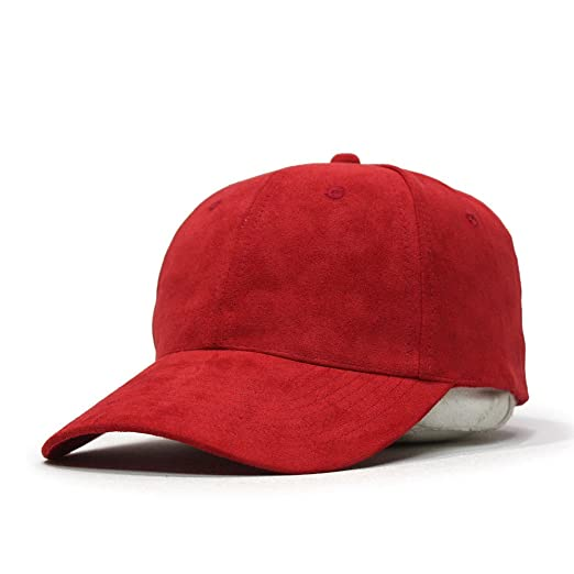 8b3e07004b76 Classic Suede Low Profile Adjustable Baseball Cap (Red) at Amazon ...