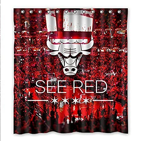 PURELOVE ZXXQE Design NBA Chicago Bulls Shower Curtain Waterproof Polyester Bathroom 66 X 72 Amazoncouk Kitchen Home