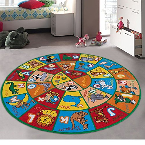 Champion Rugs Kids / Baby Room / Daycare / Classroom / Playroom Area Rug. ABC Animals. Educational. Fun. Playmat. Bright Colorful Vibrant Colors (8 ft x 8 ft round)