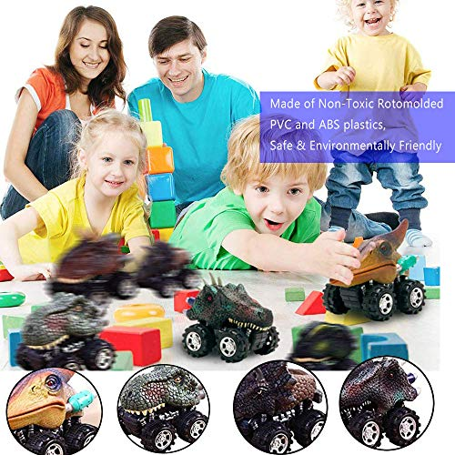 UiiQ Pull Back Cars Animal Dinosaur Vehicles Toy Big Tire Wheel Truck Playset for 3+ Years Old Boys Girls Creative Gifts for Kids (6 Pcs)