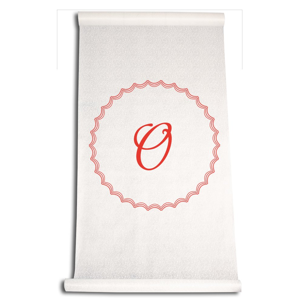 Ivy Lane Design Wedding Accessories Aisle Runner with Initial, Letter O, Red