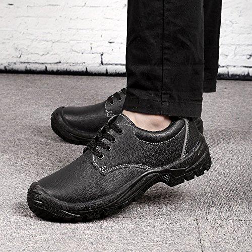 Leather Toe Men's Work Plate 8804 Durable Steel Steel Shoes JACKBAGGIO Black Eq8Xpp
