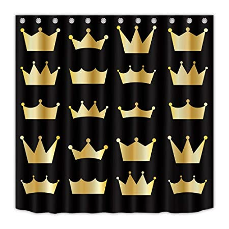 LB Crown Gold Black Shower Curtain For Bathroom Home Accessory 150 Width X 180 Height Cm