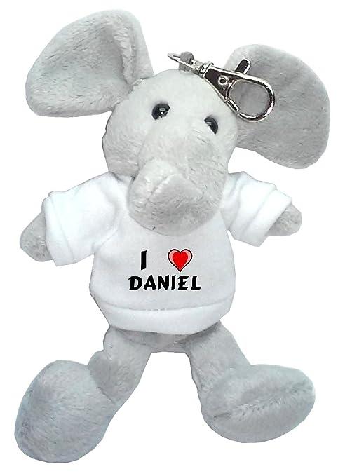 Elefante de peluche (llavero) con Amo Daniel en la camiseta ...