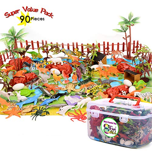 (Ziwing Safari Party Supplies - 90 Pieces Plastic Zoo Animals Toys Set Include Farm Animal Figurines and Play Map and Carrying Case for Toddlers 2 3 4 5 6 Year Old Boys Girls Gifts)