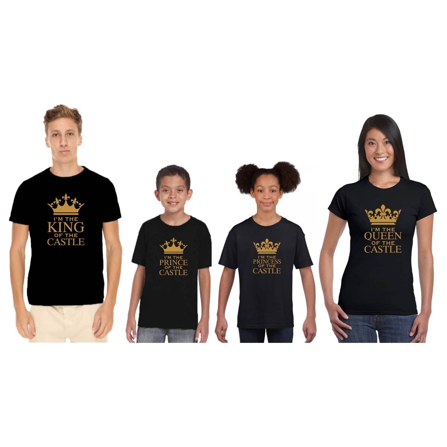 23d4fcc79 YaYa cafe Castle King Queen Family T-Shirts - Set of 4 for Mom Dad and 2  Kids - Black: Amazon.in: Clothing & Accessories