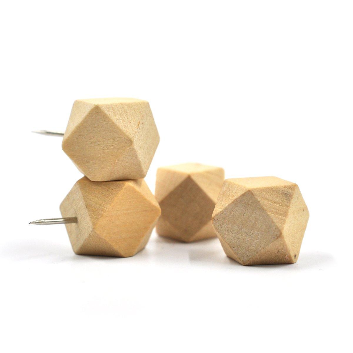 geometrische Grafik eZAKKA 30-teilig Holz Pinnadeln Holz Rei/ßzwecken Push Pins Daumen N/ägel Deko f/ür Kork-Pinnw/ände Karte Fotos Kalender Hause B/üro Kraft Projekte mit Box