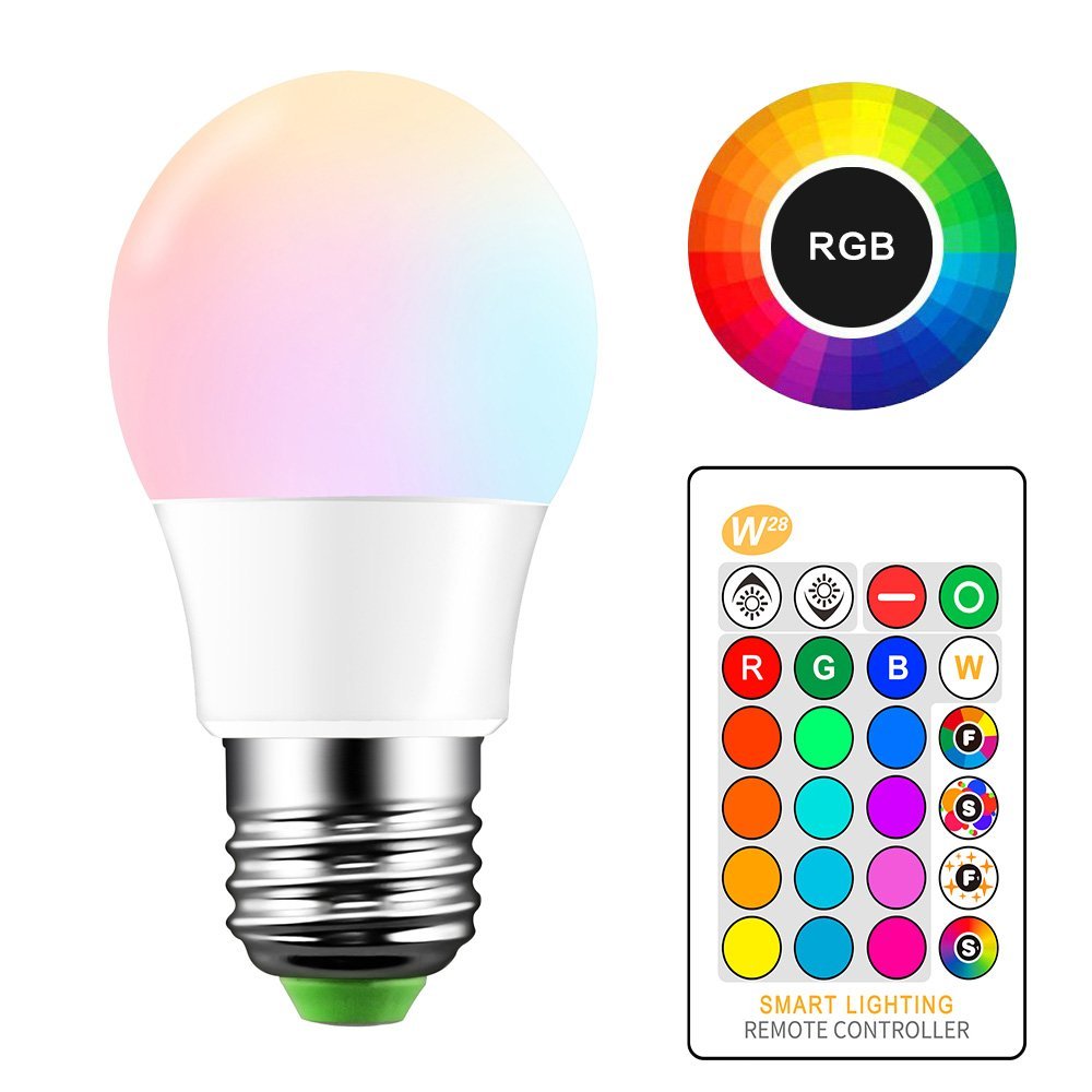 ONEVER 5W RGB LED Bulb E27 Color Changing Atmosphere Lighting LED Lamp Flash Strobe Fade Mode Bar KTV Decorative Lights (4PCS)