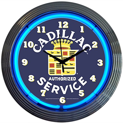 Cadillac Service Genuine Electric Neon 15 Inch Wall Clock Glass Face Chrome Finish USA Warranty - ()